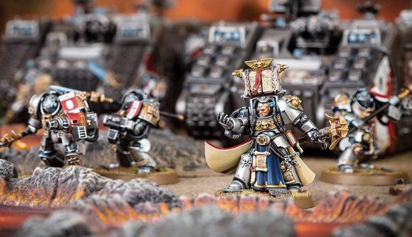 Warhammer 40k Grey Knights codex Castellan Crowe mini in front of a tank