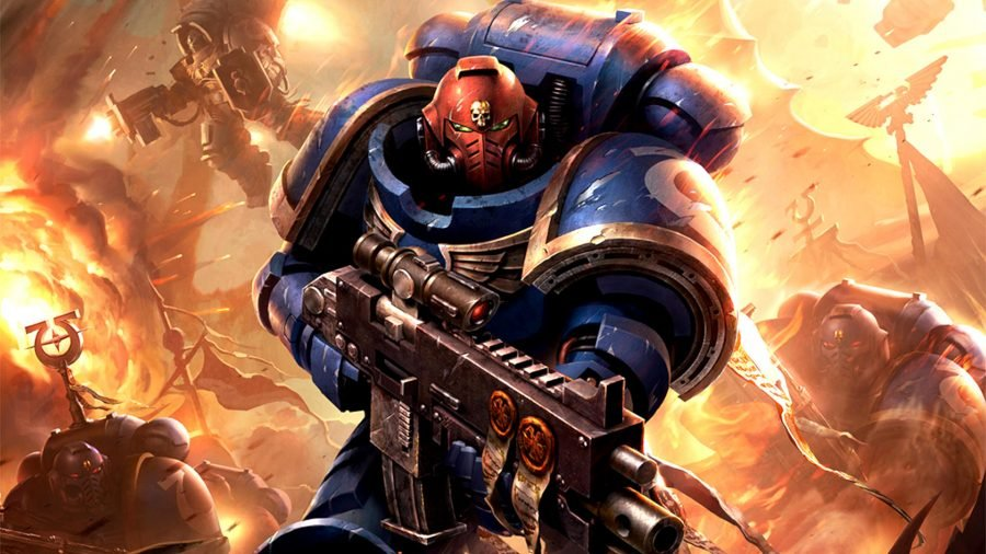 Warhammer 40k Magic: The Gathering crossover Universes Beyond a Space Marine carrying a boltgun looking forward