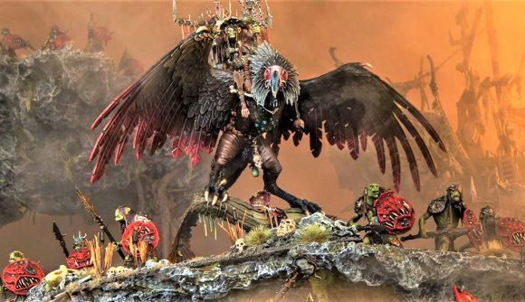 Warhammer Age of Sigmar Kruleboyz Gobsprakk stats and spells warhammer community photo showing the model for Gobsprakk on Killabeak