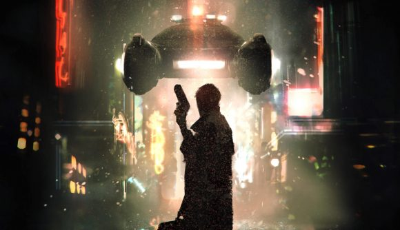Blade Runner RPG core rulebook cover showing a detective and a flying vehicle
