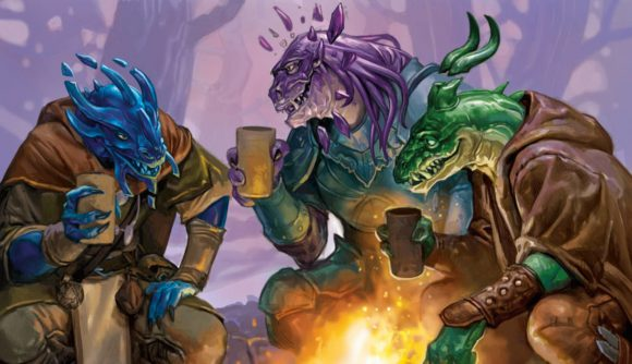 D&D Fizban's Treasury of Dragons preview three Dragonborn sitting by a campfire