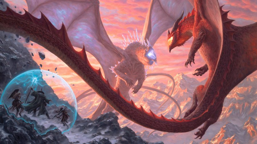 Dungeons and Dragons Fizban's Treasury of Dragons full cover art showing two dragons fighting next to a cliff