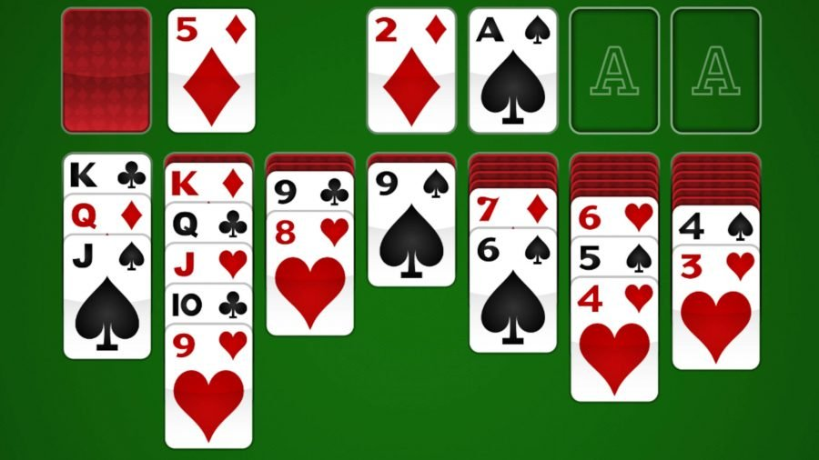 Free card games online a game of solitaire laid out on a table