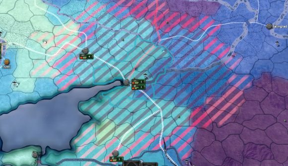 Hearts of Iron 4 update map screen showing the supply network