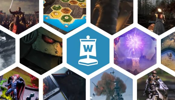 How to pitch to wargamer - a hex wall graphic showing photos of various tabletop games, including Warhammer 40k and Star Wars: Legion