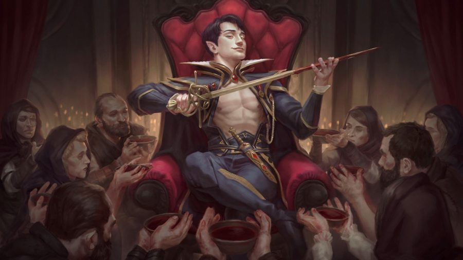 Magic: The Gathering Innistrad Crimson Vow release date - Innistrad Midnight Hunt card artwork showing a fancy vampire sitting on a throne with a sword, surrounded by thralls