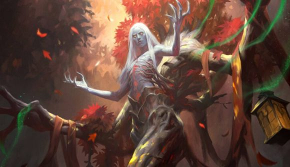 Magic: The Gathering Innistrad: Midnight Hunt commander decks Sven the druid holding his arms up
