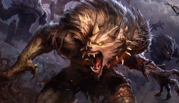 Magic: The Gathering Innistrad: Midnight Hunt an enraged werewolf showing its teeth and claws