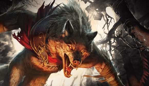 Magic The Gathering Innistrad Midnight Hunt Spoilers - Wizards promotional artwork showing a werewolf on the attack