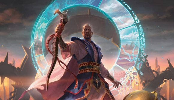 Magic: The Gathering Innistrad: Midnight Hunt teferi holding a staff surrounded by a magical aura