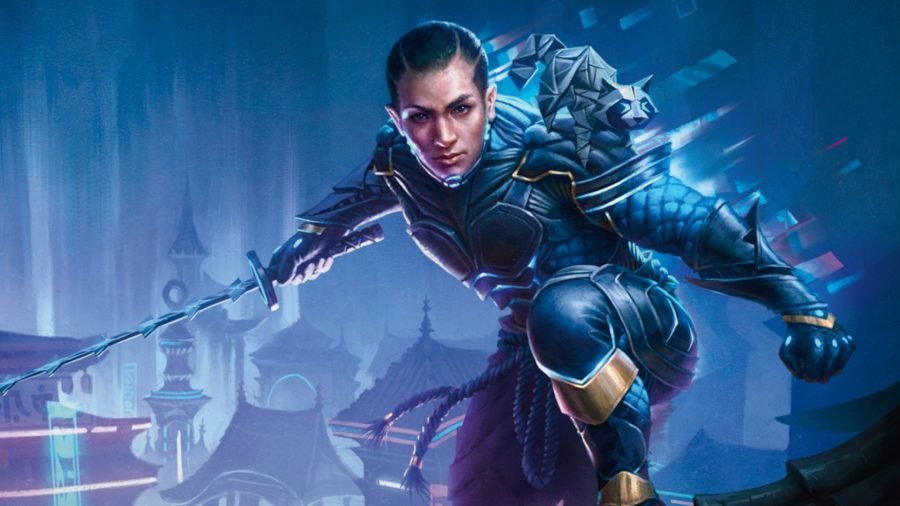 MTG 2022 release schedule Kaito the cyber-ninja squatting on a rooftop, holding a katana