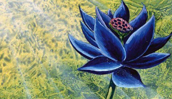 MTG Black Lotus card a dark flower in a sunny, green field