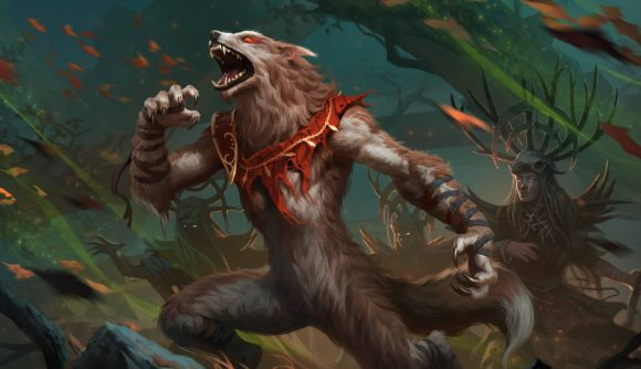 MTG Innistrad: Midnight Hunt a werewolf standing on his hind legs howling