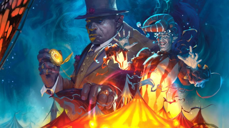 The Wild Beyond the Witchlight release date book cover showing Mr Light, a jester, and a circus beklow