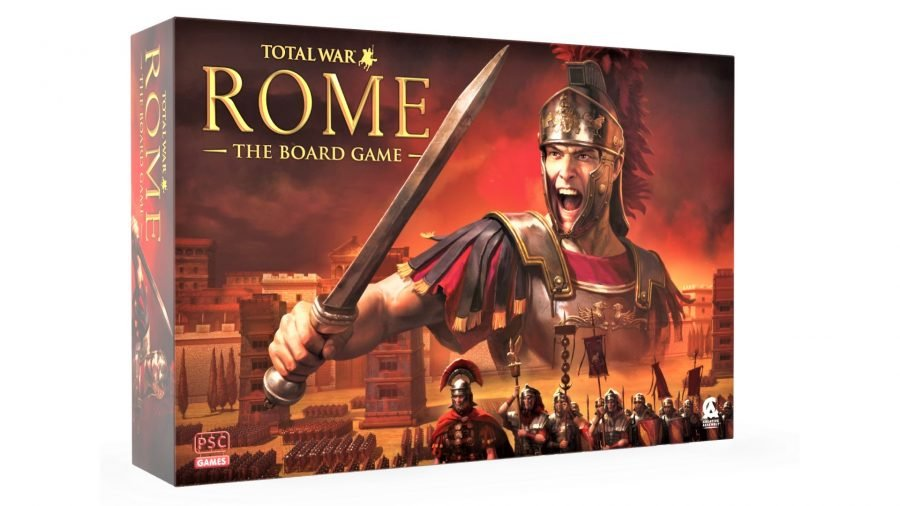 Total War: ROME: The Board Game release date - mock up photo of the board game box art showing a Roman soldier and armies