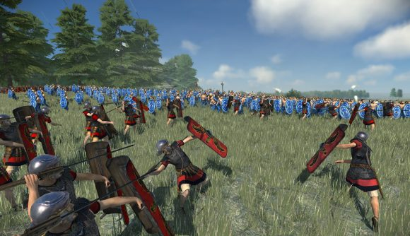 Total War: Rome: The Board Game solo mode Roman soldiers throwing javelins