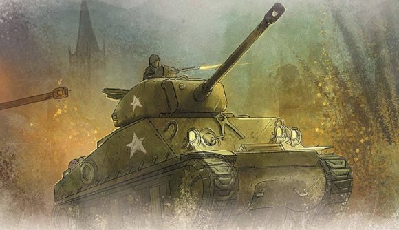 Undaunted: Reinforcements cover art showing a Sherman tank