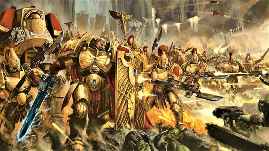 Warhammer 40k Adeptus Custodes lore, tactics, and models - Warhammer Community artwork showing a battle line of gold armoured Custodian Guard