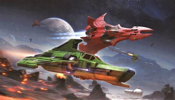 Warhammer 40k Aeronautica Imperialis Wrath of Angels release date - Warhammer community artwork showing imperial and eldar aircraft in combat