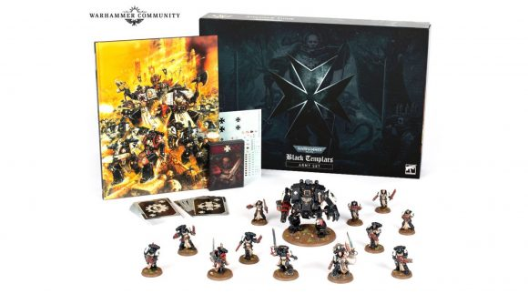 Warhammer 40k black templars launch - army set box, codex, and contents photo from warhammer community