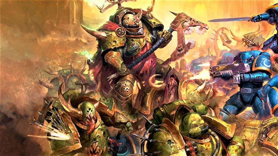 Warhammer 40k Death Guard army guide - Warhammer Community artwork showing a Death Guard Lord of Contagion and Plague Marines fighting Ultramarines