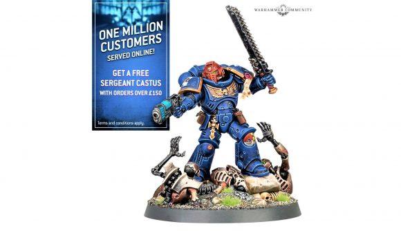 Warhammer 40k free space marine sergeant castus model - Warhammer Community photo showing the commemorative model for Ultramarines Sergeant Castus