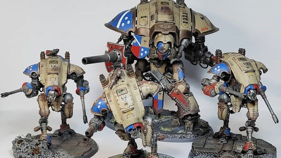 Warhammer 40k Imperial Knights army guide - Photo provided to the author by Instagram user @40ksteve showing a Knight Lance of Imperial Knight house Griffith