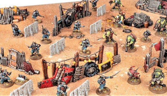 Warhammer 40k Kill Team gets new starter set - Warhammer Community photo showing the battle mat, models, and scatter terrain from the new starter set