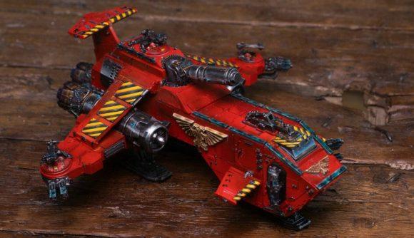 Warhammer 40k Thunderhawk Gunship miniature on a table