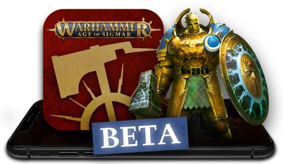 New Warhammer Age of Sigmar app launches in beta - Warhammer Community graphic showing the new Age of Sigmar app logo and the word BETA