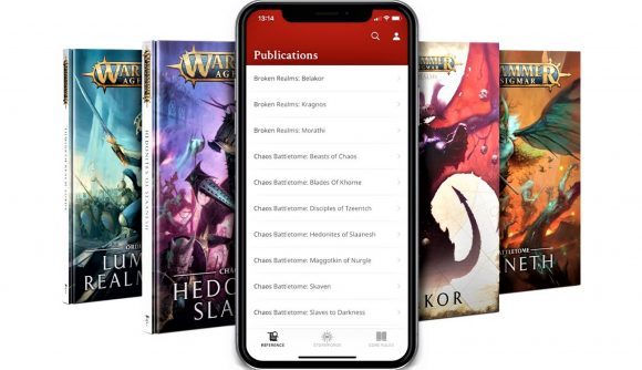 Warhammer Age of Sigmar app beta includes battletomes and broken realms - Warhammer Community graphic showing a mobile screenshot from the app, and cover art from previous battletomes