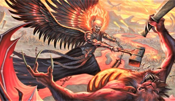 D&D alignment changes - Wizards artwork showing the Archdevil Zariel battling Demons with a hammer
