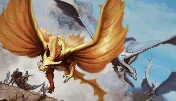 Dungeons and Dragons books Fizban's Treasury of Dragaons Strixhaven gold and silver dragons fly through the hair