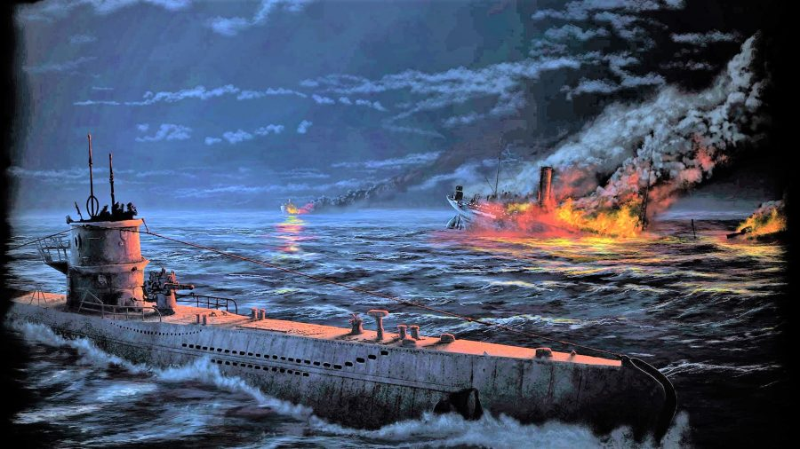 Hearts of Iron 4 achievements - Hearts of Iron 4 artwork showing a surfaced submarine and a sinking ship on fire