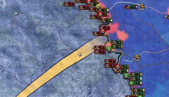 Hearts of Iron 4 No Step Back DLC AI improvements - HoI4 screenshot showing a long combat border and a big advance order arrow from it