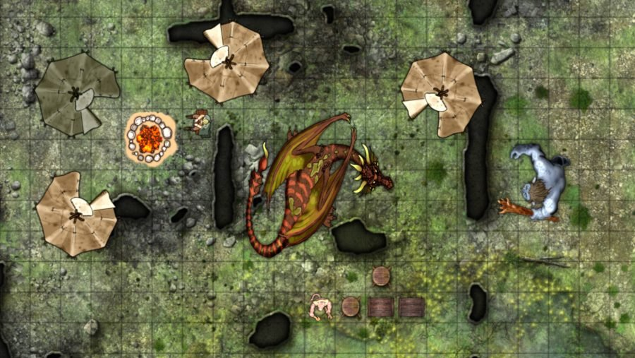 Roll20 battlemap showing a Dragon surrounded by a campsite