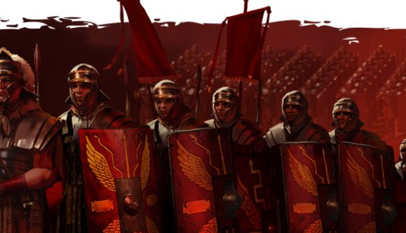 Total War Rome The Board Game Gamefound launch date - PSC artwork showing roman legionaries marching