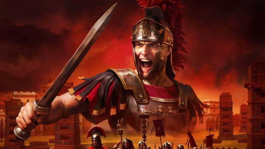 Total War: Rome: The Board Game cover showing a Roman legionary holding a sword and shouting