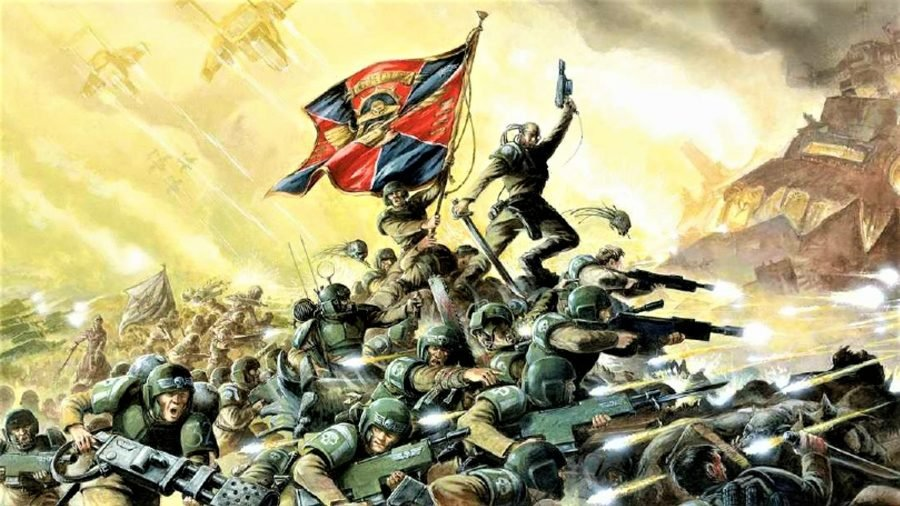 Warhammer 40k Astra Militarum army guide - Warhammer Community artwork showing an Astra Militarum force with a banner, making glorious charge