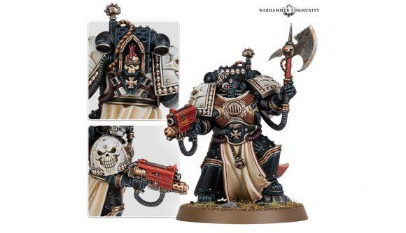 Warhammer 40k Black Templars new models reveal - Warhammer Community photo showing the new Black Templars Castellan model