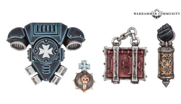 Warhammer 40k Black Templars Relic Bearers rules reveal - Warhammer Community photo showing the physical model parts for the new Relic Bearers upgrades