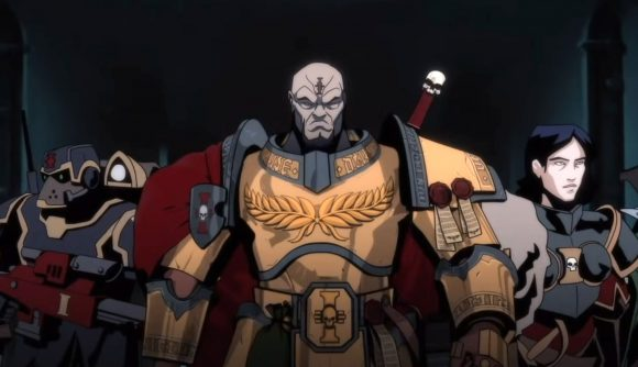 Warhammer Plus animations a Space Marine inquisitor walking with a cadre of soldiers