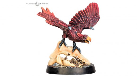 Warhammer Underworlds release dates - Warhammer Community photo showing a red parrot miniature perched on a skull